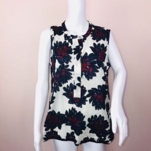 J Crew Top 12 Sleeveless Cotton Blue Red Floral